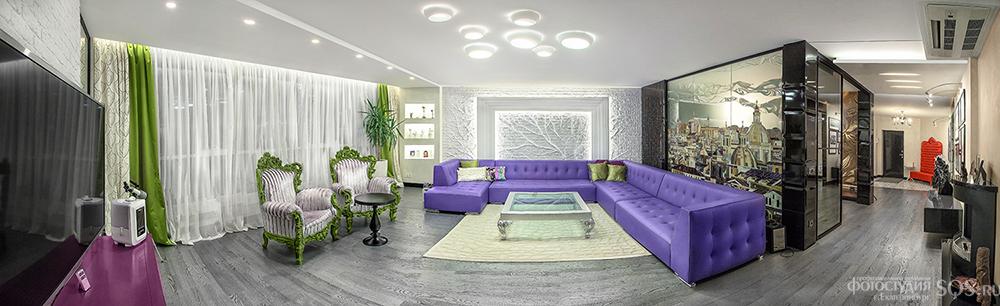 Фотосъемка готового интерьера квартиры с последующей сшивкой панорам, Интерьеры, Рекламная фотосъемка, Фотостудия SQS, Екатеринбург.